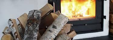 Birch wood fireplace