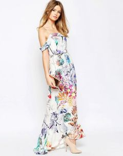 WEDDING Bardot Fishtail Maxi In Floral Print